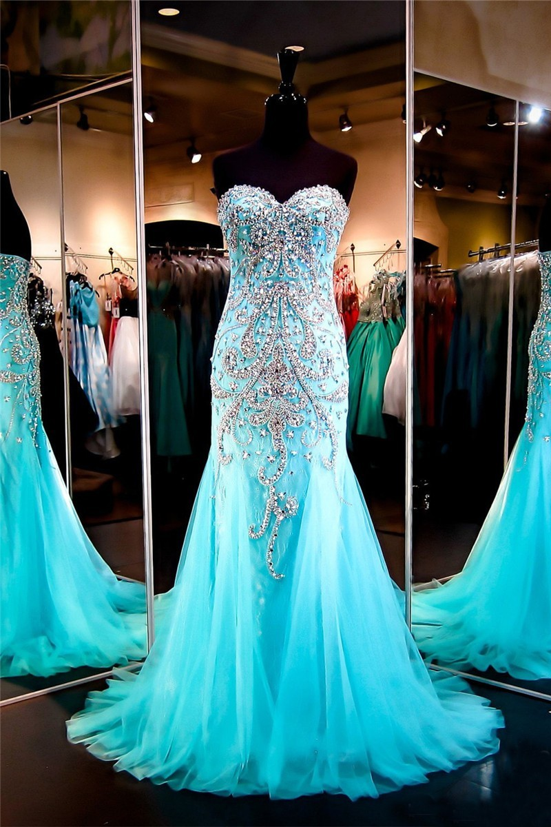 ed10426f45 Gorgeous Mermaid Sweetheart Aqua Tulle Beaded Sparkly Prom Dress