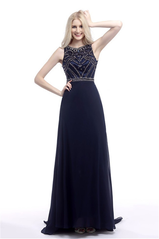 Gorgeous Sheath Scoop Neck Sleeveless Long Navy Blue Chiffon Beaded ...