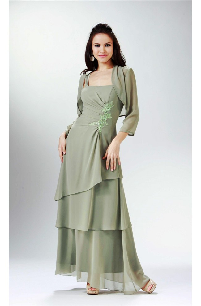 Graceful Strap Sage Chiffon Tiered Formal Mother Evening Dress