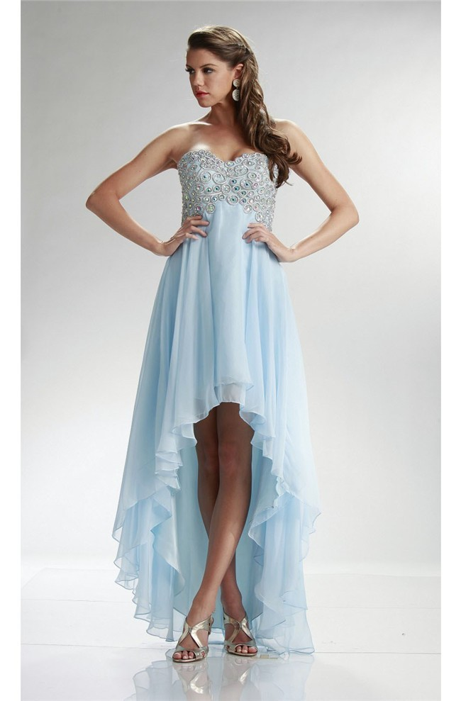 c2a0a3e5b980 Graceful Sweetheart High Low Light Blue Chiffon Beaded Corset Prom Dress