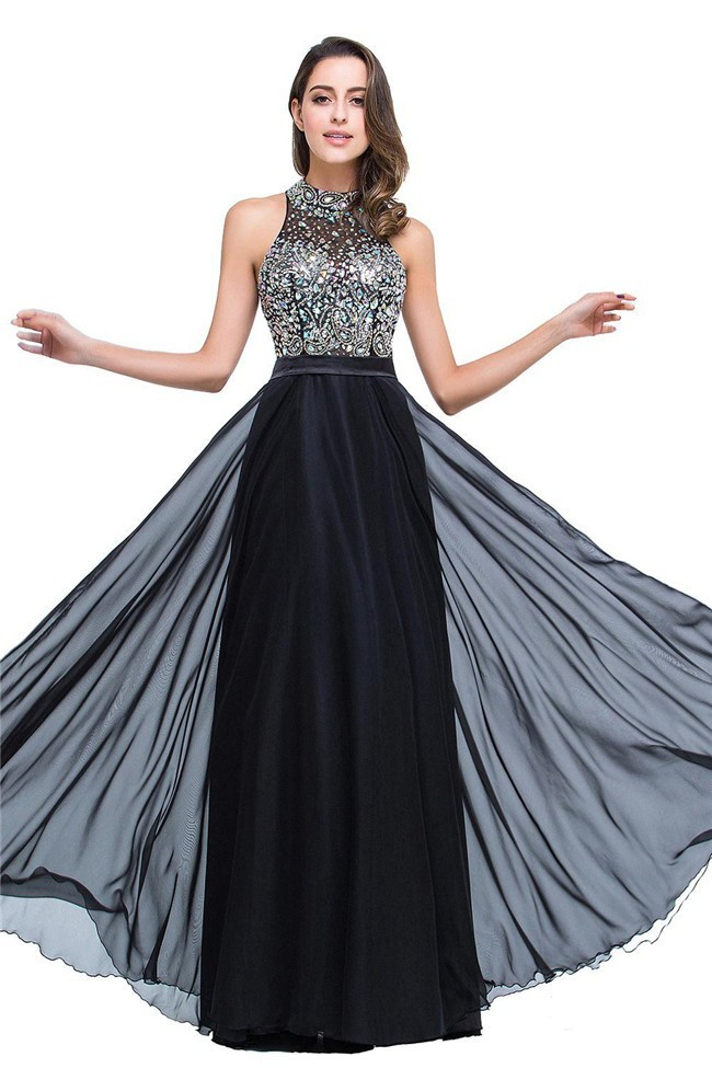 Halter Keyhole Back Long Black Chiffon Flowing Prom Dress With Sash
