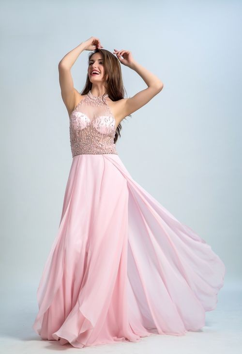 64b5990156 Halter See Through Tulle Beaded Light Pink Chiffon Flowing Prom Dress