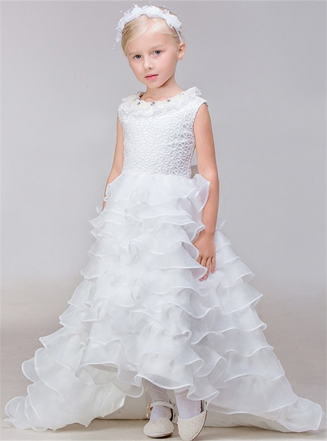 733defbb0e High Low Organza Ruffle Tiered Little Girl Wedding Dress With Train