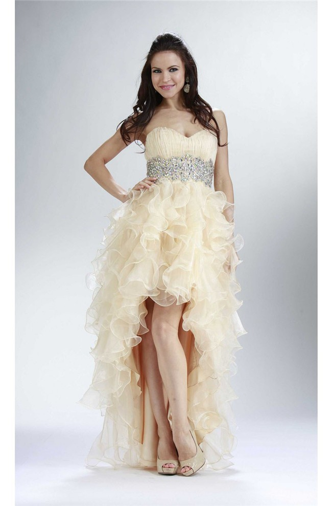 High Low Strapless Champagne Organza Ruffle Beaded Prom Dress