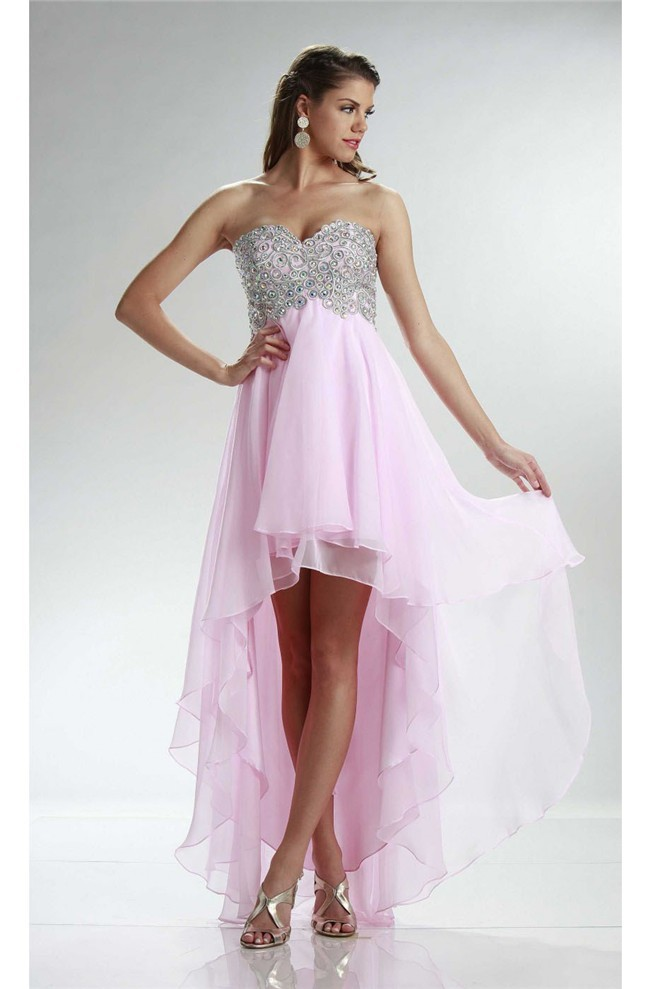 High Low Sweetheart Empire Waist Light Pink Chiffon Prom Dress