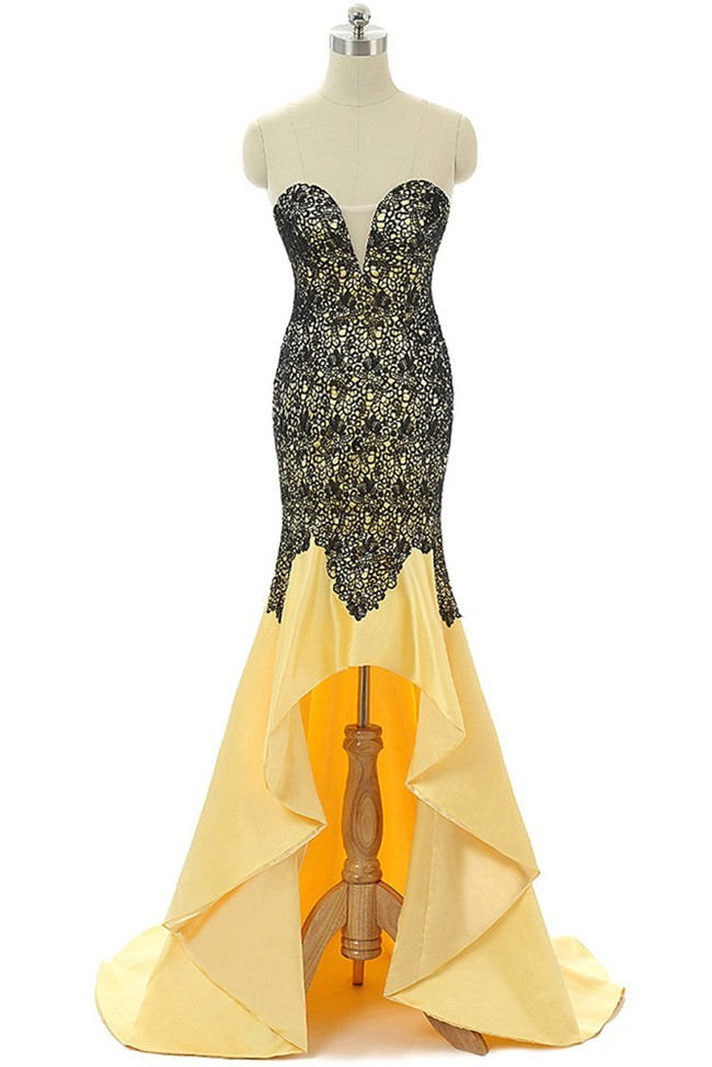 High Low Sweetheart Yellow Satin Black Lace Prom Dress