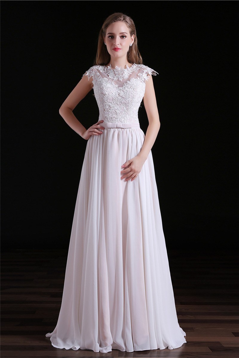 high neck cap sleeve open back floor length chiffon lace