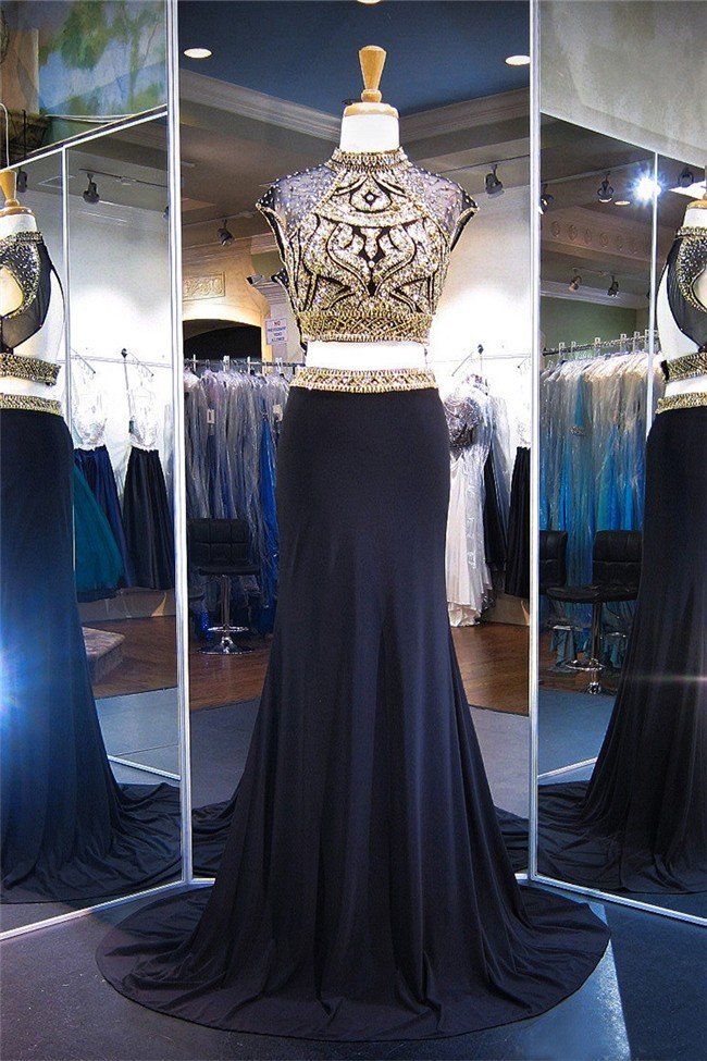 5db2ee7ab2ae High Neck Cap Sleeve Two Piece Black Jersey Gold Beaded Prom Dress