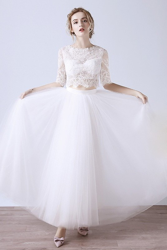 High neck lace sleeve tulle outdoor garden boho two piece wedding dress junglespirit Gallery