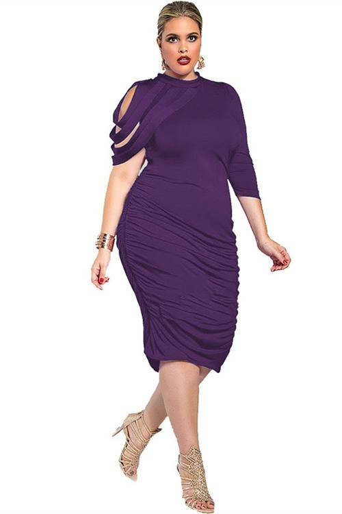 High Neck Tea Length Purple Jersey Ruched Plus Size Dress With Sleeves