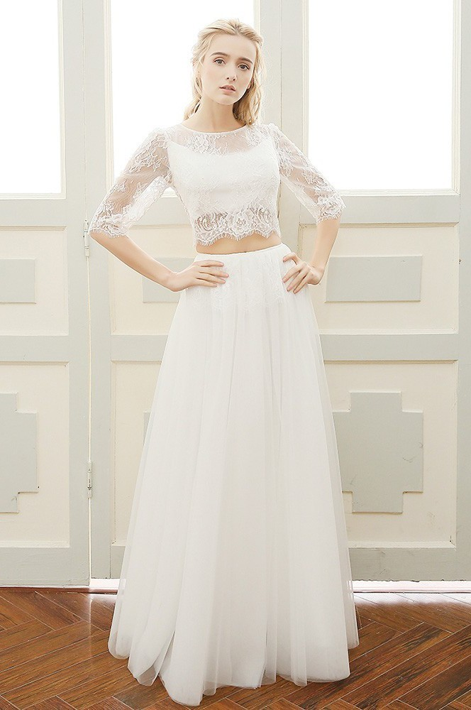 Illusion Back Lace Sleeve Outdoor Beach Boho Two Piece Wedding Dress