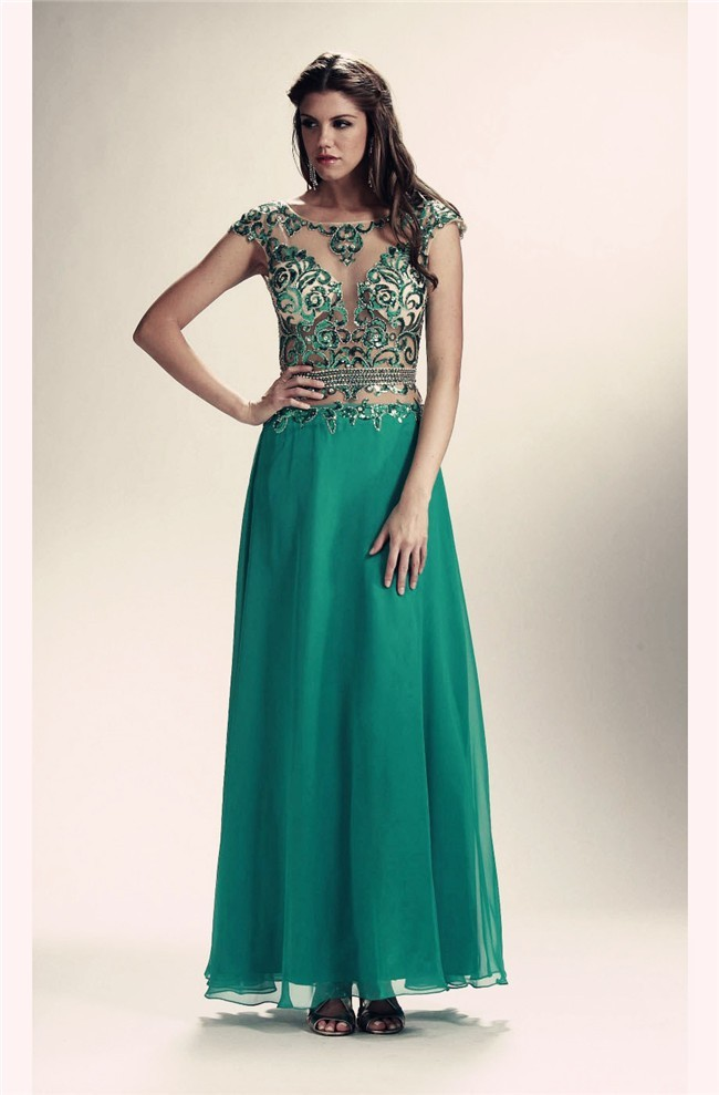 89f57d9780f81 Illusion Neckline Cap Sleeve Long Emerald Green Chiffon Beaded Prom Dress