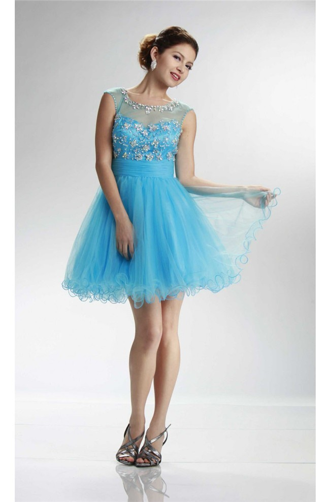 17be5fab34c Illusion Neckline Open Back Short Sky Blue Tulle Beaded Prom Dress
