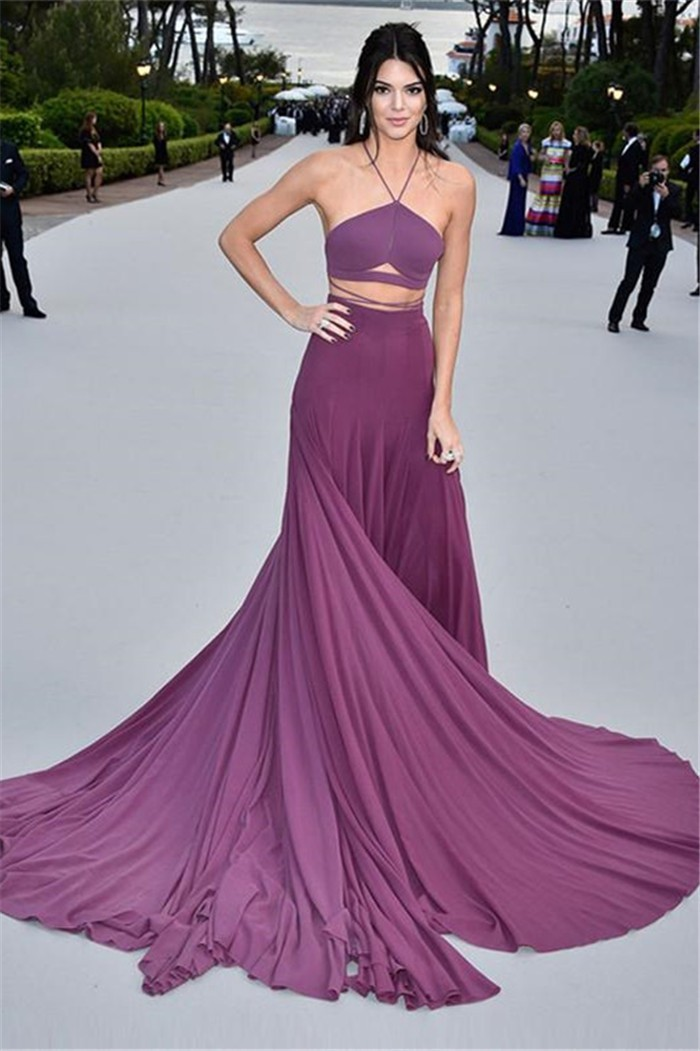 Kendall Jenner Sexy Two Pieces Spaghetti Strap Lilac Chiffon Evening