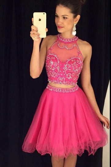 Lovely Ball Halter Two Piece Short Hot Pink Tulle Beaded Prom Dress
