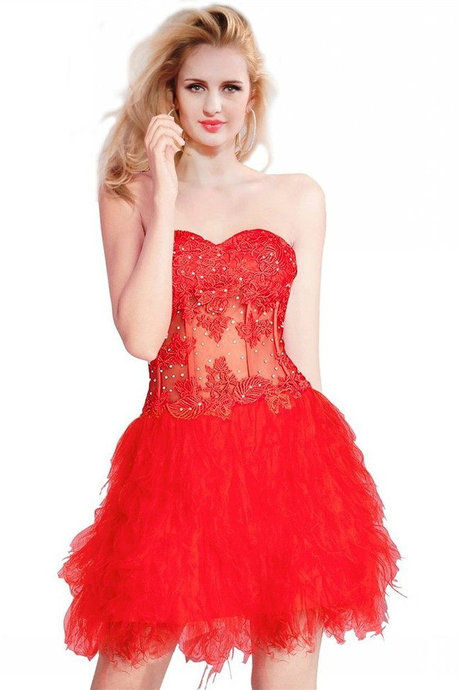 b5b1c3ab1c Lovely Ball Strapless Short Red Tulle Lace Corset Cocktail Prom Dress