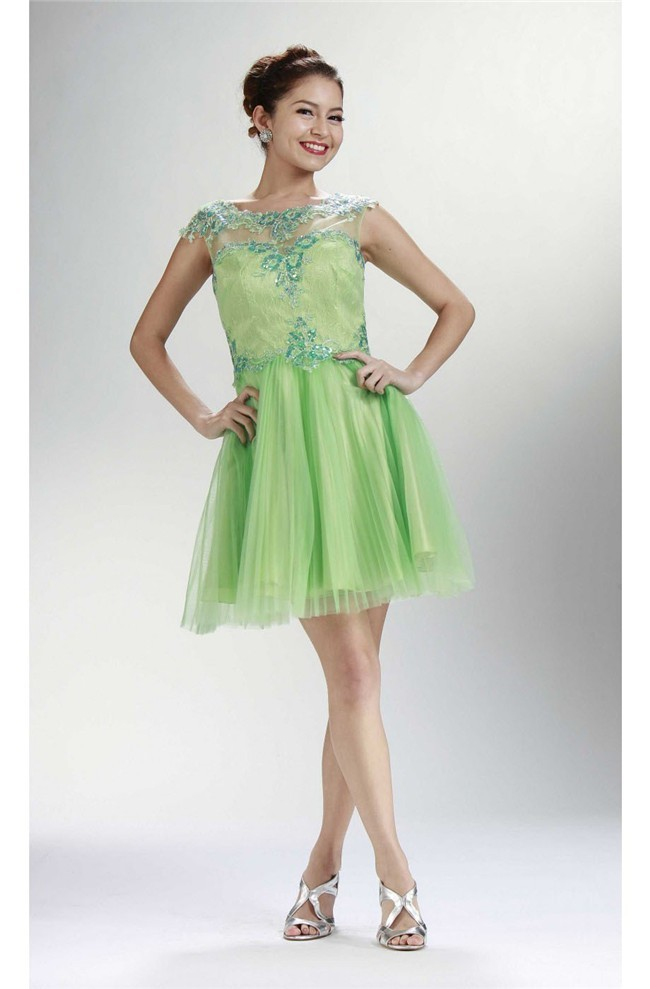 7ddf31f1d84 Lovely Cap Sleeve Open Back Short Lime Green Tulle Prom Dress