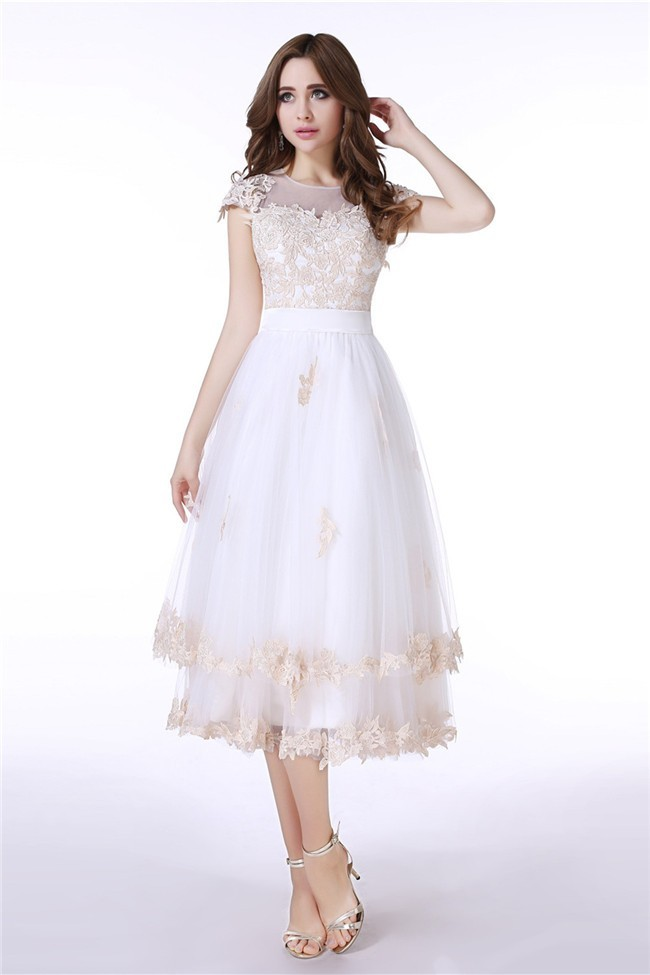 Lovely Cap Sleeve Sheer Back White Tulle Champagne Lace Prom Dress