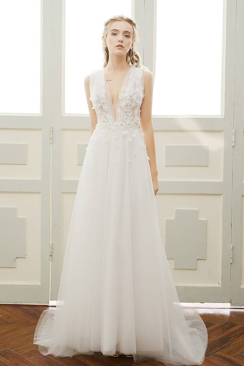 Lovely Deep V Neck Low Back Tulle Petal Boho Garden Wedding Dress