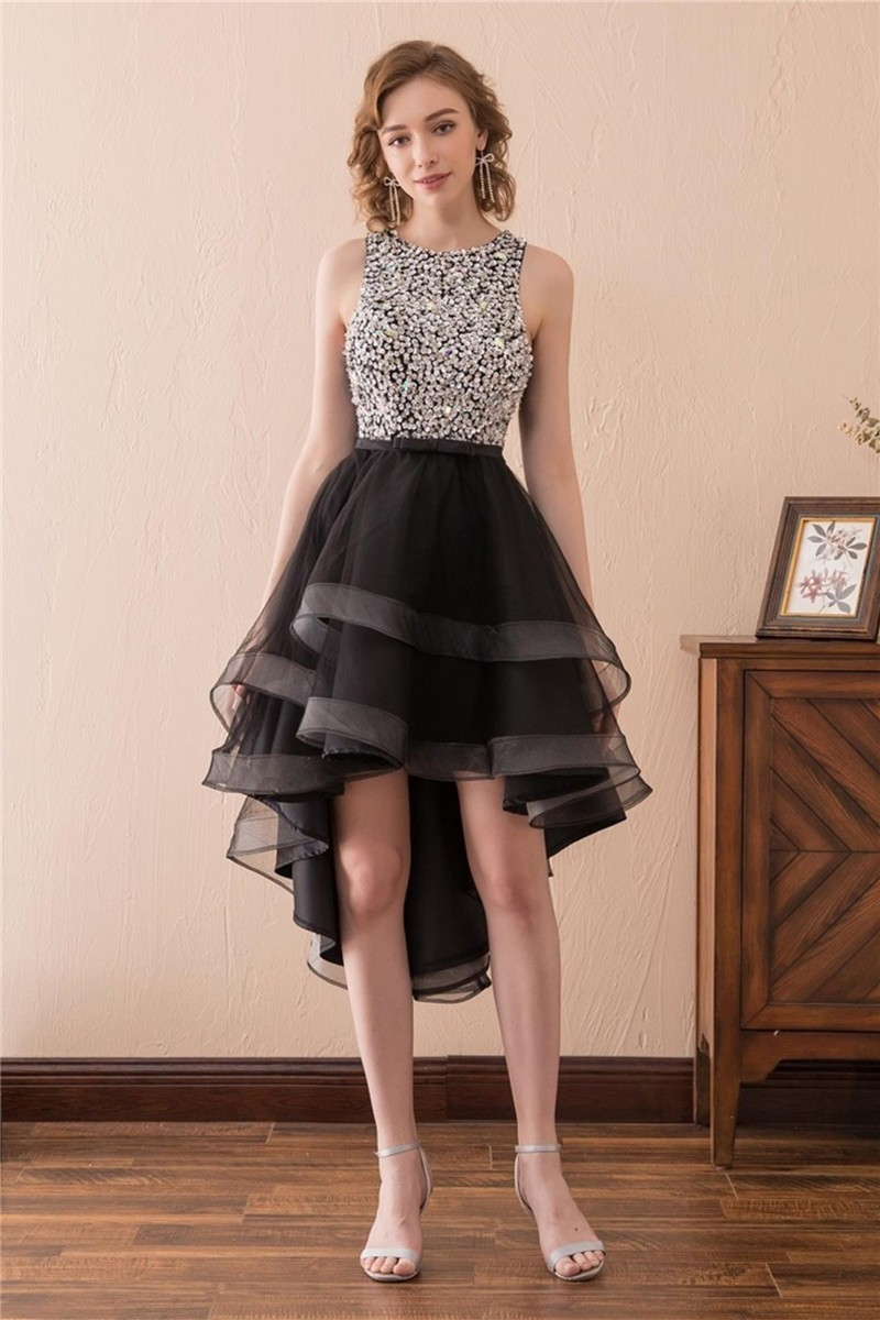 800dc9921f1d Lovely High Low Open Back Black Tulle Beaded Prom Dress