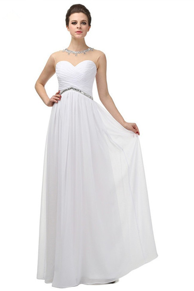 Lovely Illusion Jewel Neckline Empire Waist Long White Chiffon ...