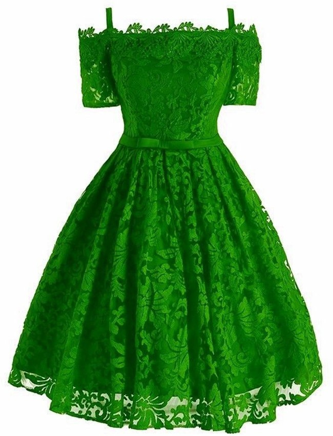 Lovely Off The Shoulder Lime Green Lace Short Prom Dress With Straps