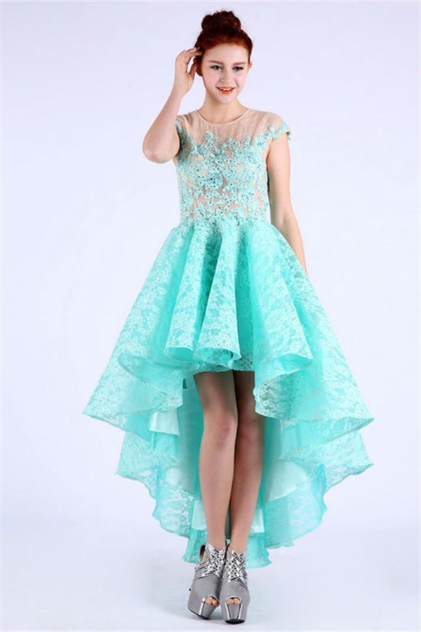 Lovely Scoop Neck Cap Sleeve High Low Aqua Lace Beaded Prom Dress b19fc0564