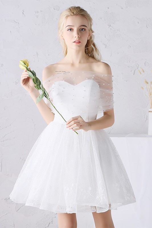 Lovely Strapless Short Tulle Outdoor Garden Wedding Dress Pearl Beaded Wrap