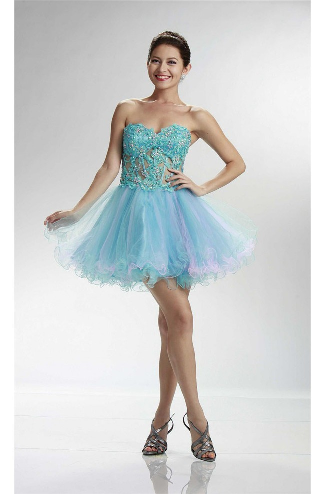 abd2f546f67 Lovely Sweetheart Short Turquoise And Pink Tulle Beaded Cocktail Prom Dress