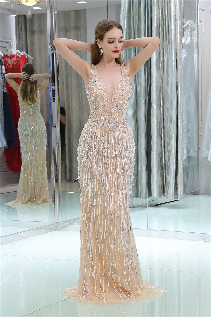 Luxury Sheath Deep V Neck Champagne Tulle Beaded Tassel Occasion ...