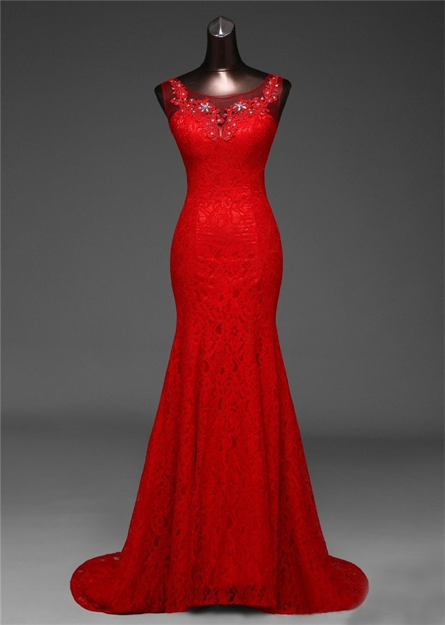Mermaid Boat Neck Red Lace Beaded Prom Dress Corset Back