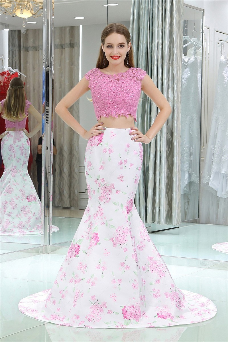 2fbb1b53cf44 Two Piece Mermaid Floral Prom Dresses