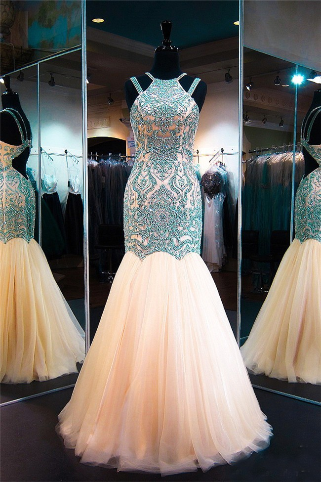 Mermaid Cut Out Back Champagne Tulle Green Embroidery Prom Dress ...