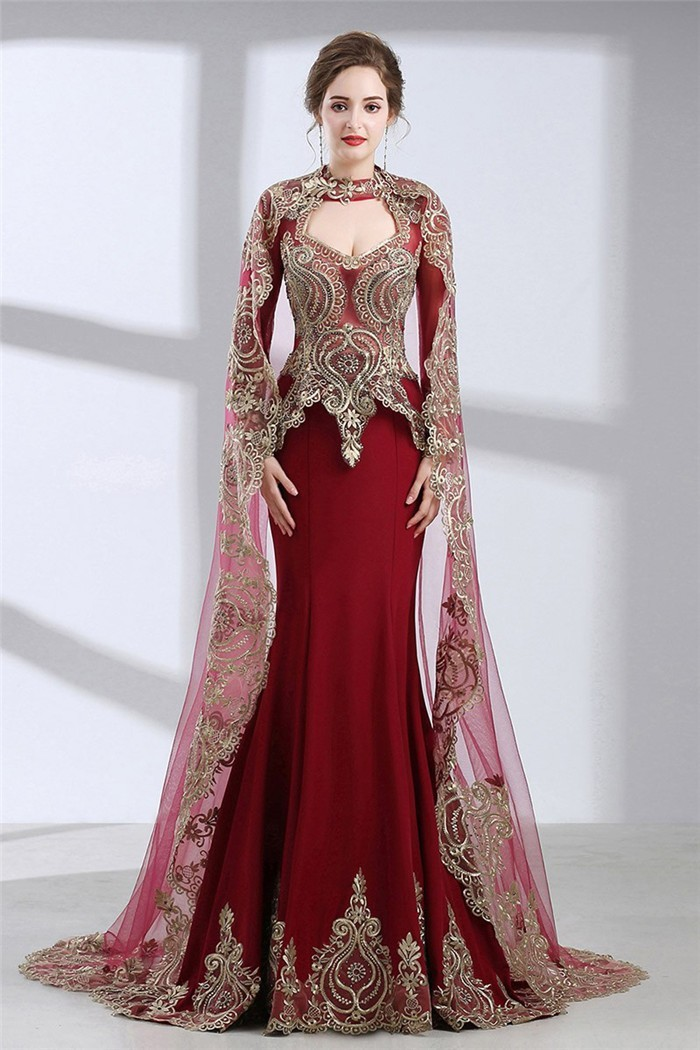Mermaid Front Cut Out Burgundy Satin Gold Lace Evening