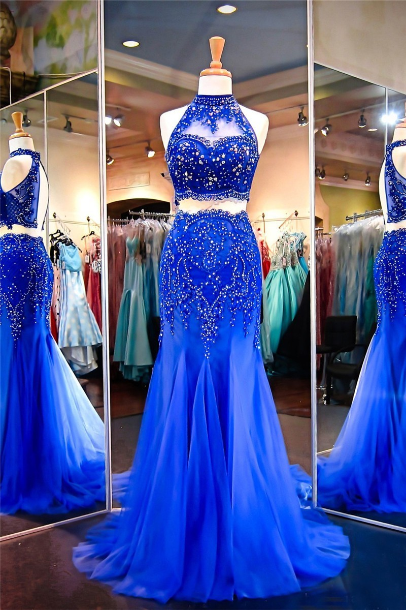 b843383655c Mermaid Halter Keyhole Back Royal Blue Tulle Lace Beaded Two Piece Prom  Dress