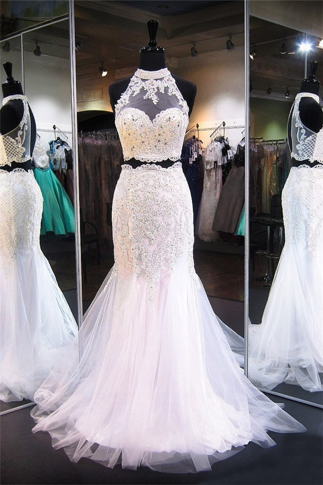 f343753f92d Mermaid Halter Keyhole Back White Tulle Lace Beaded Two Piece Prom Dress
