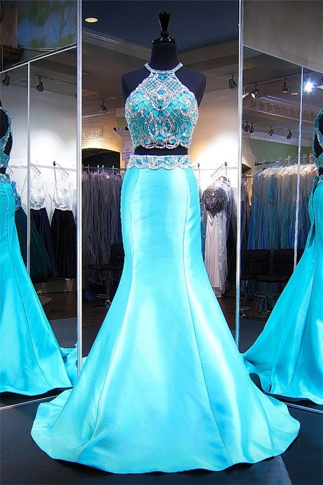 Mermaid Halter Open Back Two Piece Aqua Satin Beaded Prom Dress