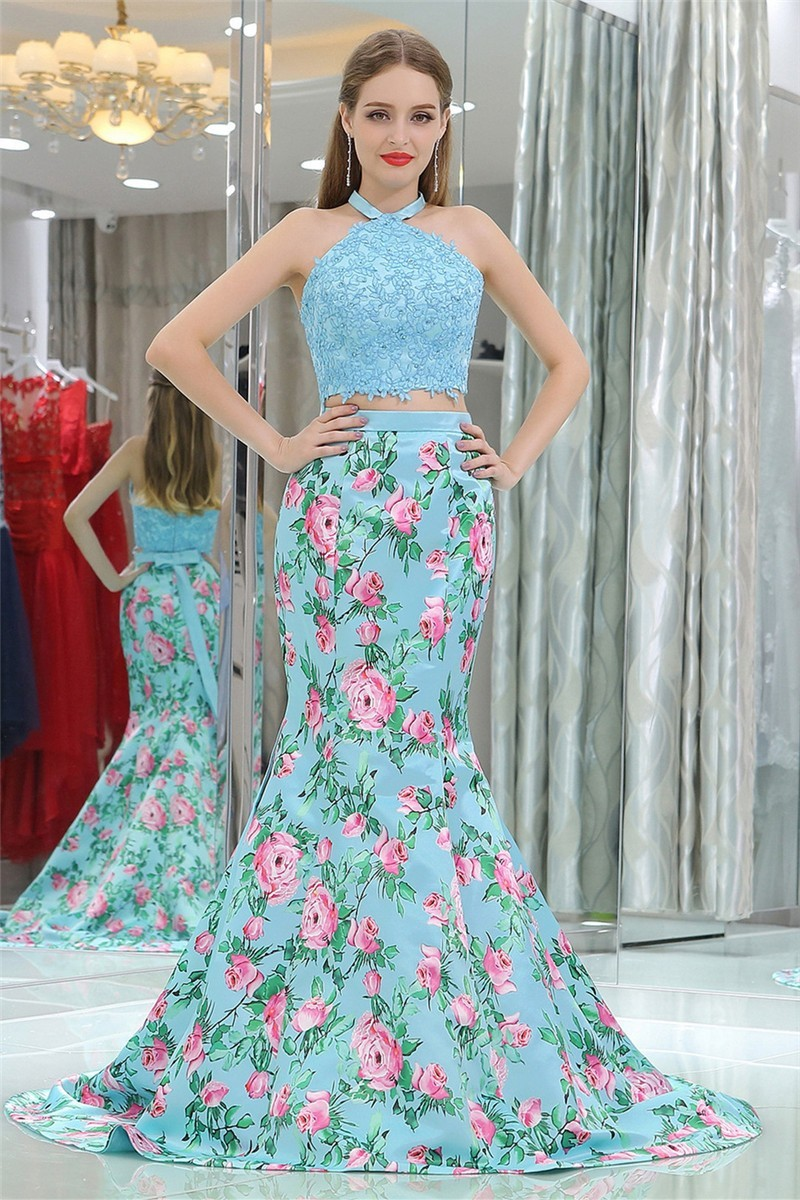 Mermaid Halter Turquoise Lace Satin Floral Printed Two Piece Prom ...