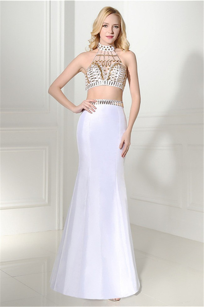 Mermaid Halter Two Piece White Taffeta Gold Beaded Prom Dress