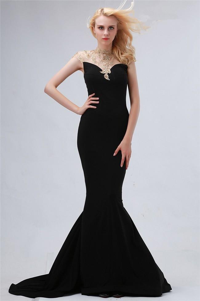 Mermaid High Neck Cap Sleeve Black Satin Tulle Beaded Evening Prom Dress