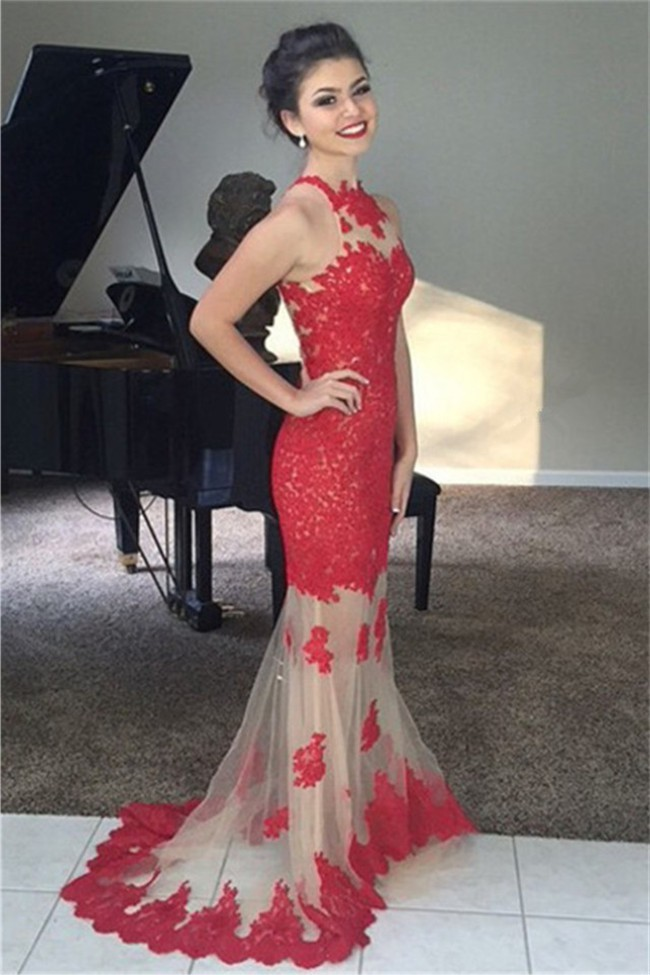 Mermaid High Neck Champagne Tulle Red Lace Prom Dress