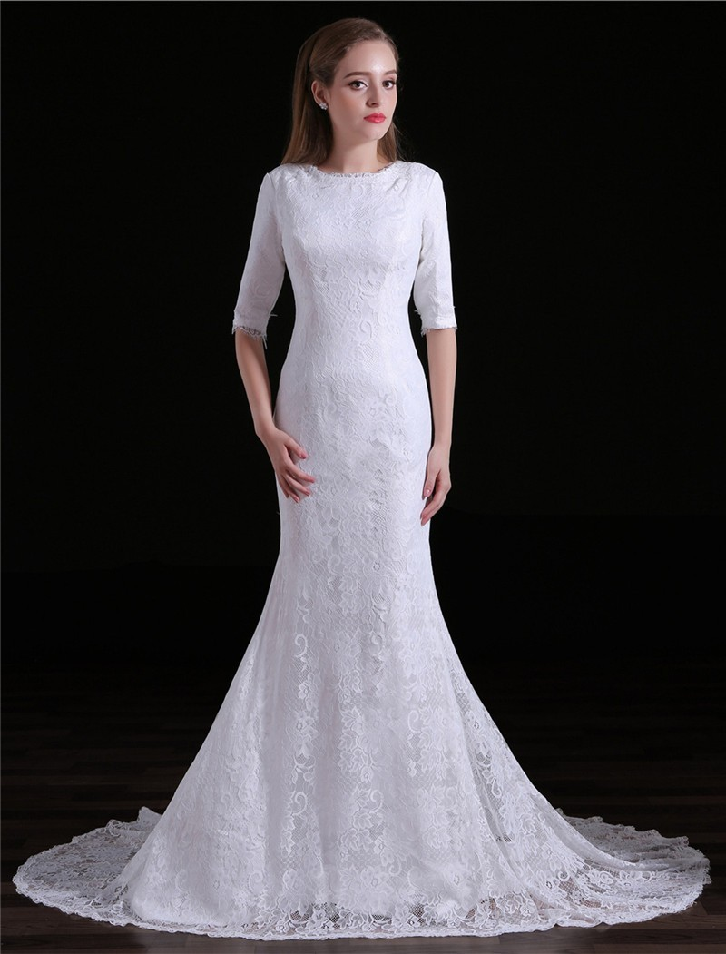 Mermaid High Neck Half Sleeve Lace Modest Wedding Dress