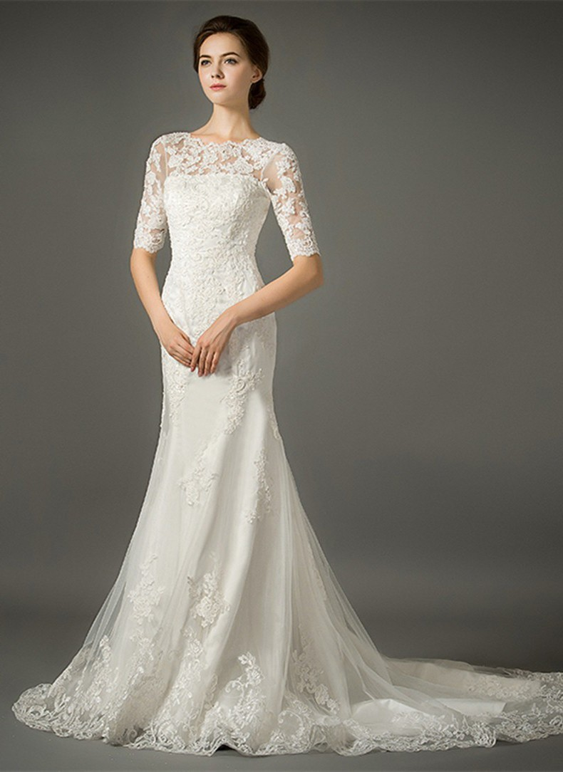 Mermaid High Neck Low V Back Half Sleeve Lace Wedding Dress With Buttons