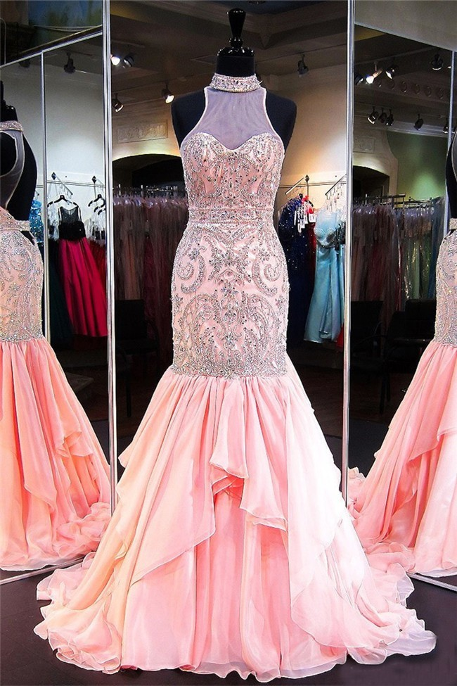 Mermaid High Neck Open Back Light Pink Chiffon Beaded Prom Dress