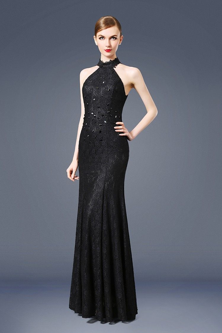 Mermaid High Neck See Through Back Black Lace Evening Prom