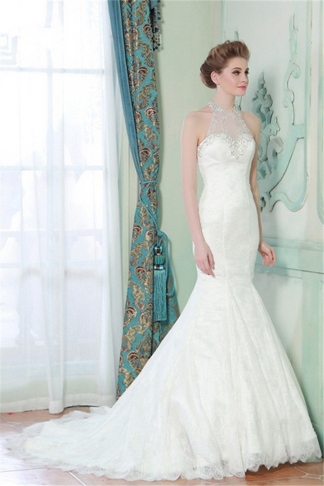 25867ce77ab3 Mermaid High Neck Sheer Back Lace Beaded Wedding Dress With Pearls Buttons