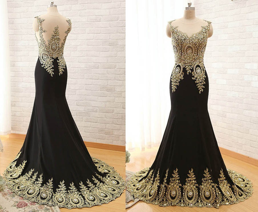 Mermaid illusion neckline black satin gold lace applique evening