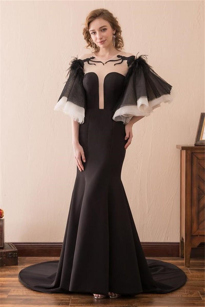 Mermaid Illusion Neckline Feather Flare Sleeve Black Satin Prom Dress