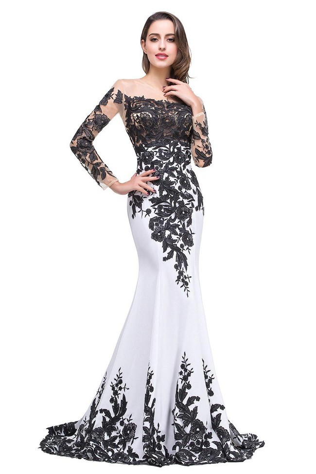 Black And White Long Sleeve Prom Dresses 104