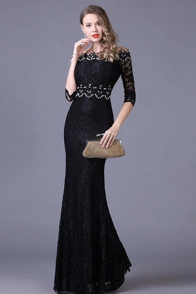 Mermaid Off The Shoulder Black Lace Beaded Special Occasion Evening ...